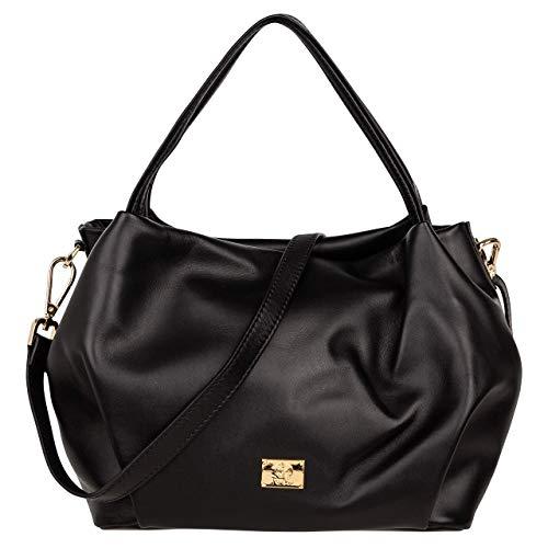 ROSA LOU Firenze - Damen Leder Tasche   Schultertasche - Handtasche Umhängetasche mit verstellbarem und abnehmbarem schultergurt - Made in Italy (Schwarz) - Firenze Leder Taschen