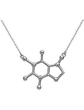 Koffein Molekül Anhänger Halskette aus 925 Sterling Silber by Serebra Jewelry