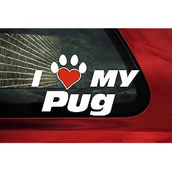 Vinilo adhesivo I Love mi huella de perro carlino, con forma de corazón