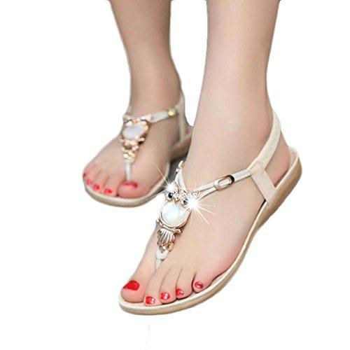 Siswong Strass Chouette Sandales Élégantes Sandales Peep Toe Sandales DÉté Beige