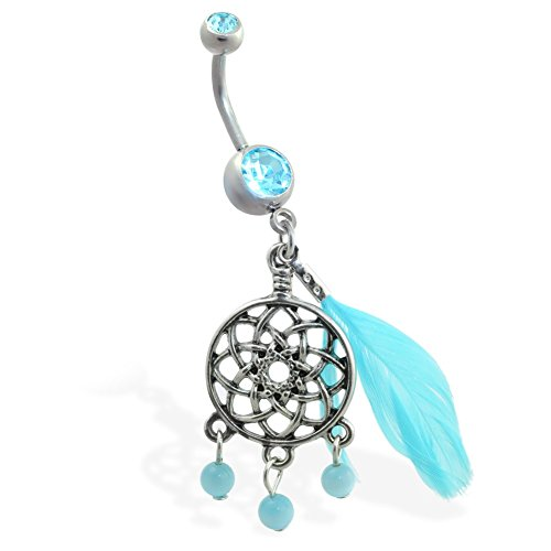 Double Jeweled Aqua Bauch Ring mit baumelnder Dream Catcher und - Button Dream Belly Catcher