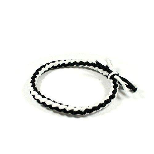 2x Haargummi geflochten aus Stoff schwarz-weiß 021-00106