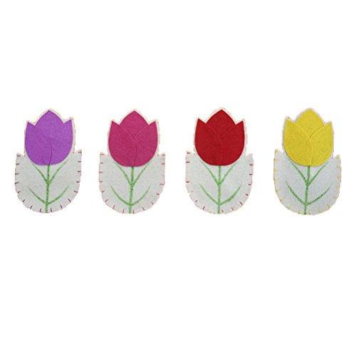 Tinksky 4 STÜCKE Ostern Geschirr Dekoration Besteck Halter Gabel Messer Taschen Taschen Blume Geformte Besteckhalter Ostern Geschirr Sets