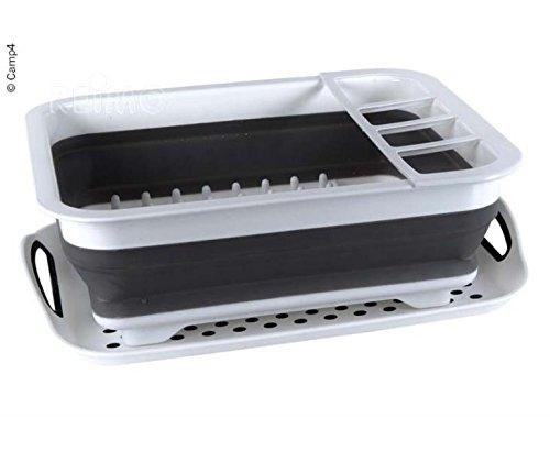 Faltbarer Silikon-Geschirrtrockner, 37x31x6/13cm, weiß/grau, mit Abtropfschale