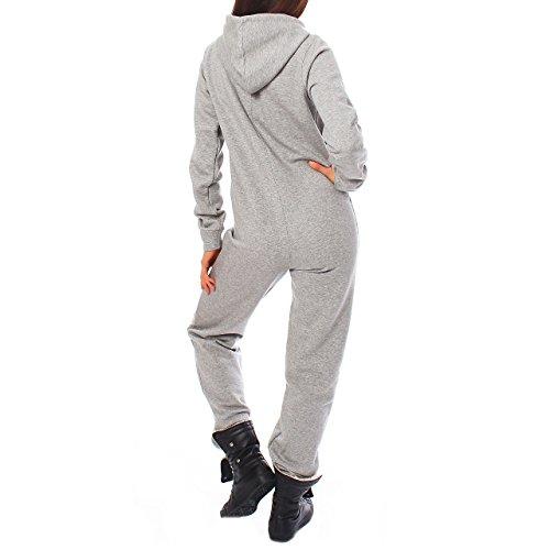 Finchgirl Damen Jumpsuit Jogger Jogging Anzug Trainingsanzug Overall Hellgrau