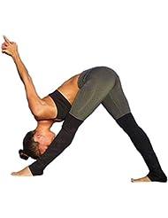 Pantalones mujer deporte Sannysis yoga pantalón chandal running rayas de color (Negro, M)