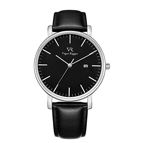Vigor Rigger unisexe montre à quartz ultra mince cadran analogique noir avec fenêtre de date boîtier en métal argent bracelet en cuir de vachette souple