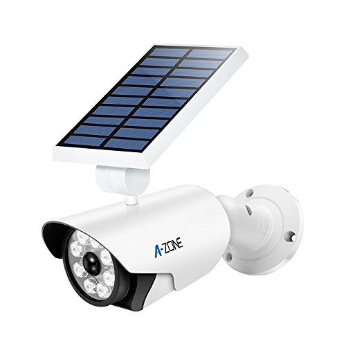 Kamera Attrappe mit Solarpaneel | Überwachungskamera-Attrappe | Power LED-Anzeige | mit Bewegungsmelder | automatiscches Licht | keine Batterien notwendig, dank umweltfreundlicher Solartechnik (Weiss)