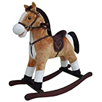 The Rocking Horse Co. - Brown & White Rocking Horse - Plush Finish - Complete with Sounds - On solid wood rockers