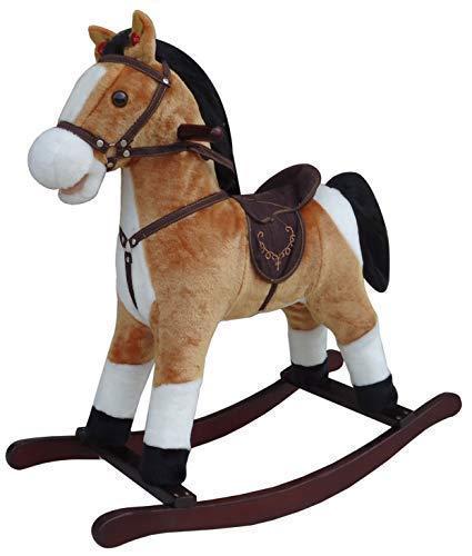 The Rocking Horse Co Braun & Weiß Schaukelpferd - Plüsch Ausführung - Komplett mit Geräusche - auf Massivem Holz Rocker -