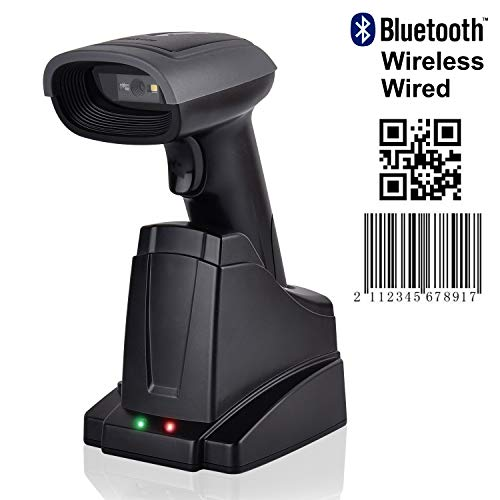 Barcodescanner MUNBYN 1D/2D Bluetooth Barcode Scanner Barcodeleser Für Android/IOS/Windows XP/7/8/iPhone/Galaxy/iPad, 32 Bit Decoder, Mit Ladestation Barcode-Scanner [Update 2.0] - Windows Scanner