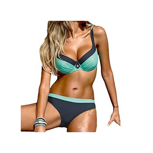 New Sexy Bikinis Set Push Up Swimwear Women Brand Strap Bandage Swimsuit Bathing Suits Summer Beach Green XXL