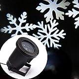 LED Projektor mit weißen Schneeflocken für innen und außen   LED Effektlicht als Weihnachtsdekoration