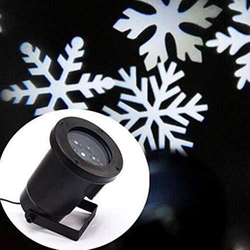 Projecteur avec motifs flocons de neige blancs – Éclairage de Noël – Lampe de jardin, de plein air, facile à installer