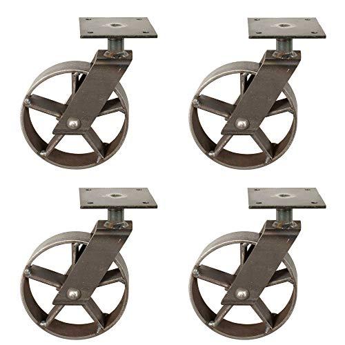 4x Lenkrolle vintage Look mit Speichen I aus Eisen I Möbelrolle I handgefertigt
