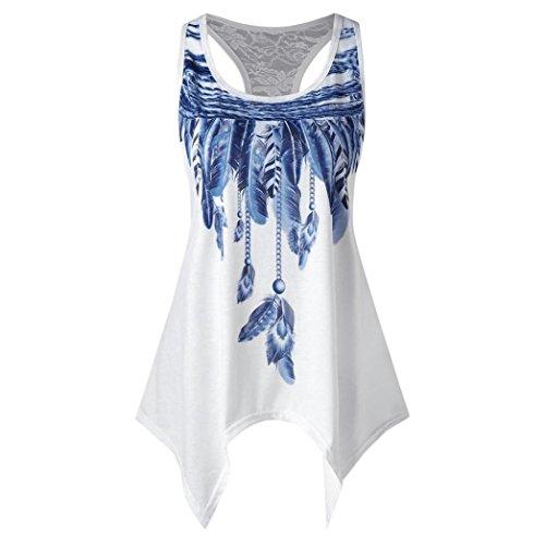 TIREOW Frauen Ärmelloses Unregelmäßig Shirt Bluse Lässige Tanktops in 3 Farben, S-XL (Weiß, L)