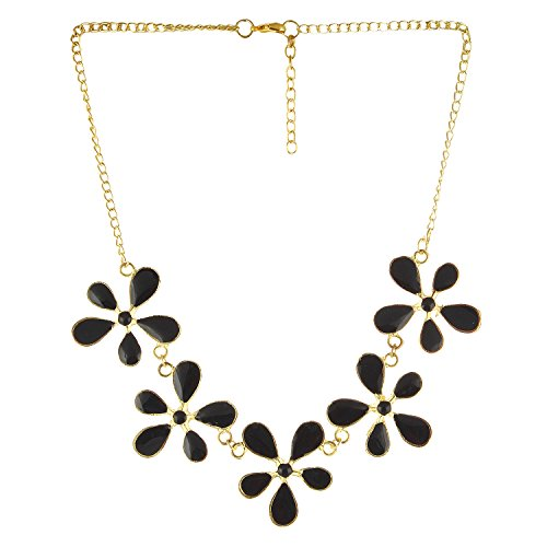 Arittra Alloy Tribal Design Black Golden 5 Flower choker Necklace in Antique Finish for Girls and Women brass\Tribal\handicraft\Resin Design Silver Multi colour,ethnic\traditional\tribal\antique\Designer\fashion\style\Necklace\Choker\chain\pendant Set with matching earrings for women\girls-Valentine gift,todays,deal,party,casual,discount  available at amazon for Rs.180