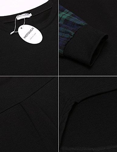 HOTOUCH Herren T-Shirt Sweatshirt Pullover Langarmshirt Rundhals Typ1-Schwarz/Grün