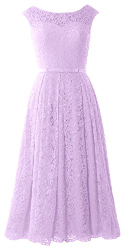MACloth Caps Sleeve Lace Cocktail Dress Tea Length Wedding Party Formal Gown Lavande