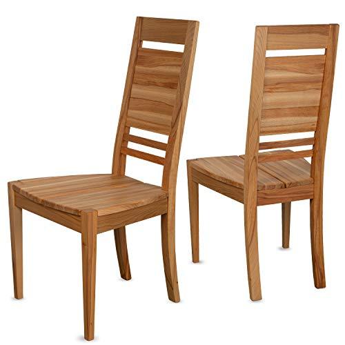 Staboos 2er Set Esszimmerstühle Holz CH03 - Stuhlset bestehend aus 2 Stühlen - Polsterstuhl bis 130 kg - Holzstühle Esszimmer - Küchenstühle Holz (Natur beo geölt)