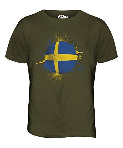 CandyMix Svezia Calcio T-Shirt da Uomo Maglietta Verde oliva