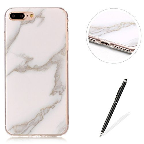 iPhone 7 Plus /iPhone 8 Plus Custodia,iPhone 7 / 8 Plus Caso Di Marmo,MAGQI Flessibile Ultra Sottile Copertura Del Respingente Del Gel TPU Con Unico Marble Stone Serise Design Stampato Caso Antiurto P Bianco Marmo