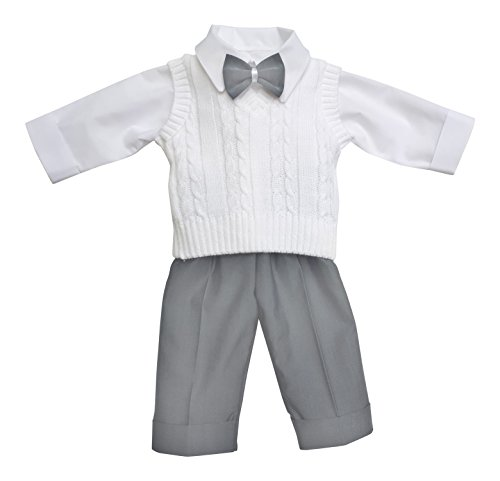 deine-Brautmode Taufanzug Festanzug Anzug Weste Hose Hemd Fliege Taufe Baby Set Adam Anzug,weiß Hellgrau, 74