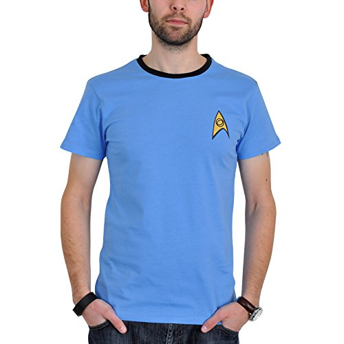 Star Trek Uniform T Shirt (Blau) - (Trek Kostüm Uniform Star Enterprise)