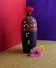 KALAPURI® Handmade 3D Color Work Black Vase with Red Gond Art Painting Terracotta and Mirror Work/Home décor/S