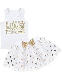 CHICTRY 2Pcs Vestido de Fiesta para Bebé Niñas Vestido de Flores Princesa Camiseta Sin Mangas +