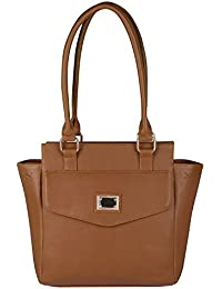 Waao PU Leather Light Brown Hand Bag For Women
