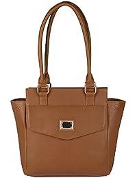 Waao PU Leather Light Brown Hand Bag For Women