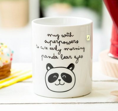 "Mr Wonderful Tasse avec inscription ""Superpowers To Cure Early Morning Panda Bear Eyes"" (en anglais)"