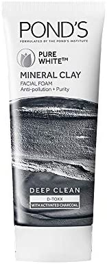 POND'S Pure White Mineral Clay Anti Pollution Purity Face Wash Foam, 90 g