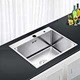 Auralum Lavello da Cucina, Lavandino Cucina, Lavello Quadrato Cucina, in Acciaio Inox Spazzolato, Vasca Singola, 55 x 45 x 22 cm