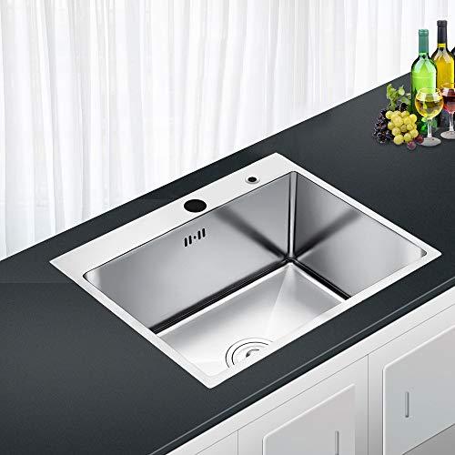 AuraLum Fregadero Cocina Dos Senos Sobre-Encimera 78x43x22cm Cuadrado Fregadero de Cocina con Desag/üe y Sif/ón Acero Inoxidable