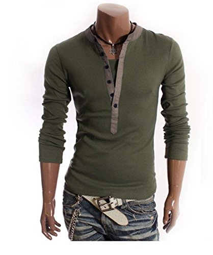 dragonpad-mens-long-sleeve-button-decoration-fake-two-pieces-t-shirts-army-green-xl