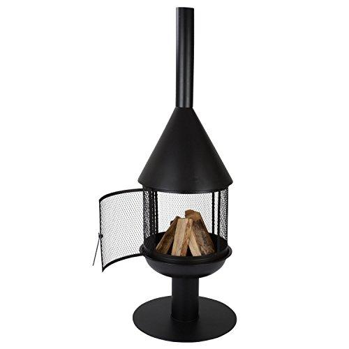 Santiago-1545cm-Black-Steel-Garden-Chiminea-Patio-Heater-Outdoor-Firepits