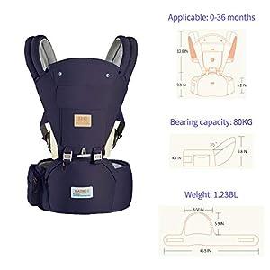 415LGZxr%2BNL. SS300  - Arkmiido Mochila Portabebés, Portabebés Ergonómica con Asiento de Cadera, Mochila Portabebés para Bebés Transpirable y…