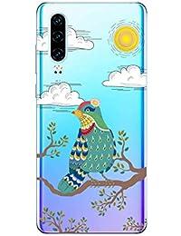 Suhctup Compatible con Huawei Y5 2018/Y5 Prime 2018 Funda de Transparente Silicona con Dibujos Lindo Animados Animal Diseño Patrón Cárcasa Suave Ultrafina TPU Antigolpes Protección Caso, Pájaro