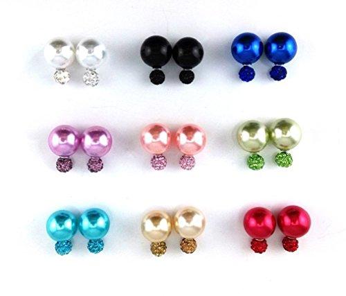 9 Paar Perlen-Ohrringe, Piercing-Perlen-Ohrstecker, Glitzer, Strass, Polymer-Ton, zweiseitig