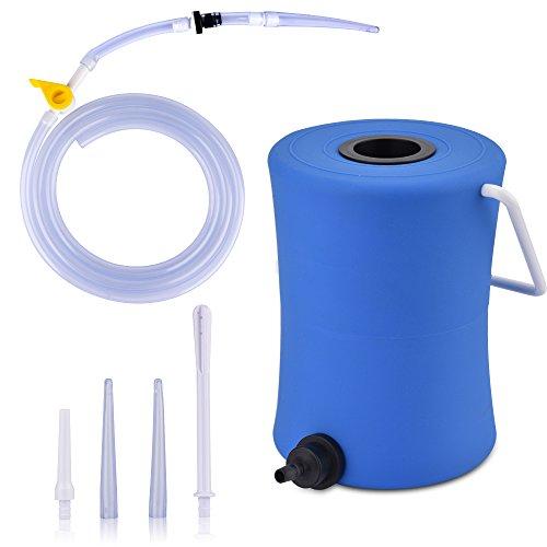Enema Anale, HailiCare 2LSilicón Reutilizable Enema Bucket Kit con 5 Consejos de Boquilla sin Ftalatos y BPA para Enema de Café Limpieza del Colon Detox