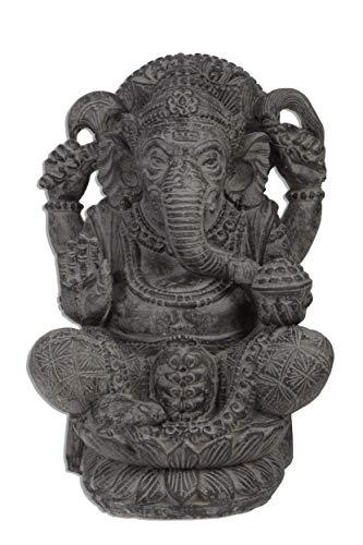 Ca. 55 bis 60cm Gamesha Stein Buddha Antik Look Hindu Massiv Steinfigur Skulptur Feng Shui Garten Deko Wetterfest Lava Stein aus Bali Elefant Ca 50-60 Kilo STB9