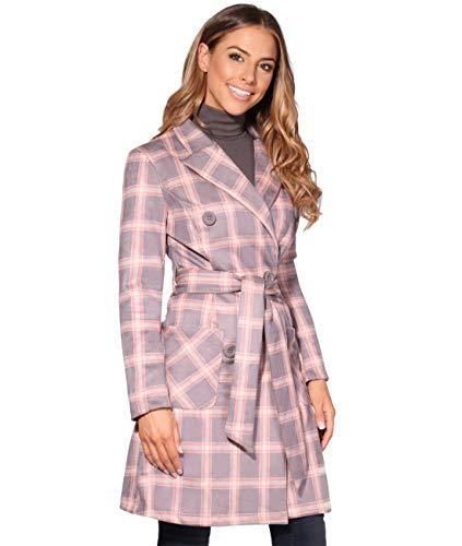 KRISP Schachbrett Muster Trench Coat Mantel (Rosa, Gr.44) (2819-PNK-16)