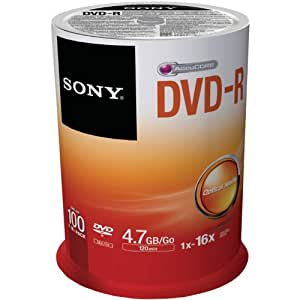 Sony DVD-R Recordable Disk Write-once on Spindle 16x Speed 120min 4.7Gb Ref 100DMR47BSP [Pack of 100]