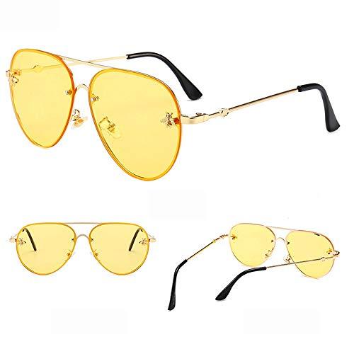 Yiph-Sunglass Sonnenbrillen Mode Sonnenbrille Sport Metallrahmen Driving Color Mirror Damen und Herren UV-Schutz Square Sonnenbrille (Farbe : Gelb, Größe : Casual Size)