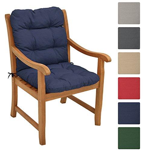 Beautissu Niedriglehner Auflage Flair NL 100x50x8cm Sitzkissen Niederlehner Stuhlkissen besonders bequem in Dunkel-Blau