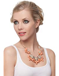 SEXYHER Reizende Schaum Damen orange Retro Blumen-Halskette mit Edelstein-und Kristall For Women SHWM130809N001