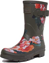 Joules Molly Ladies Rubber Wellies Green Lakeside Rose