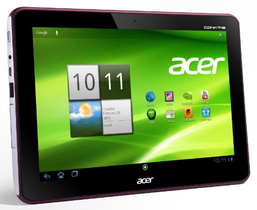 Acer Iconia A200 25,7 cm (10,1 Zoll) Tablet-PC (NVIDIA Tegra2 Dual-Core, 1GHz, 1GB RAM, 16GB Flashspeicher, Android 4.0) metallic rot